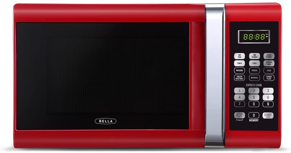 Bella 900-Watt Microwave Oven Red with Chrome