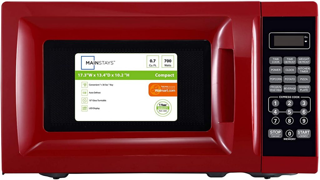 A Mainstays Red Microwave Oven