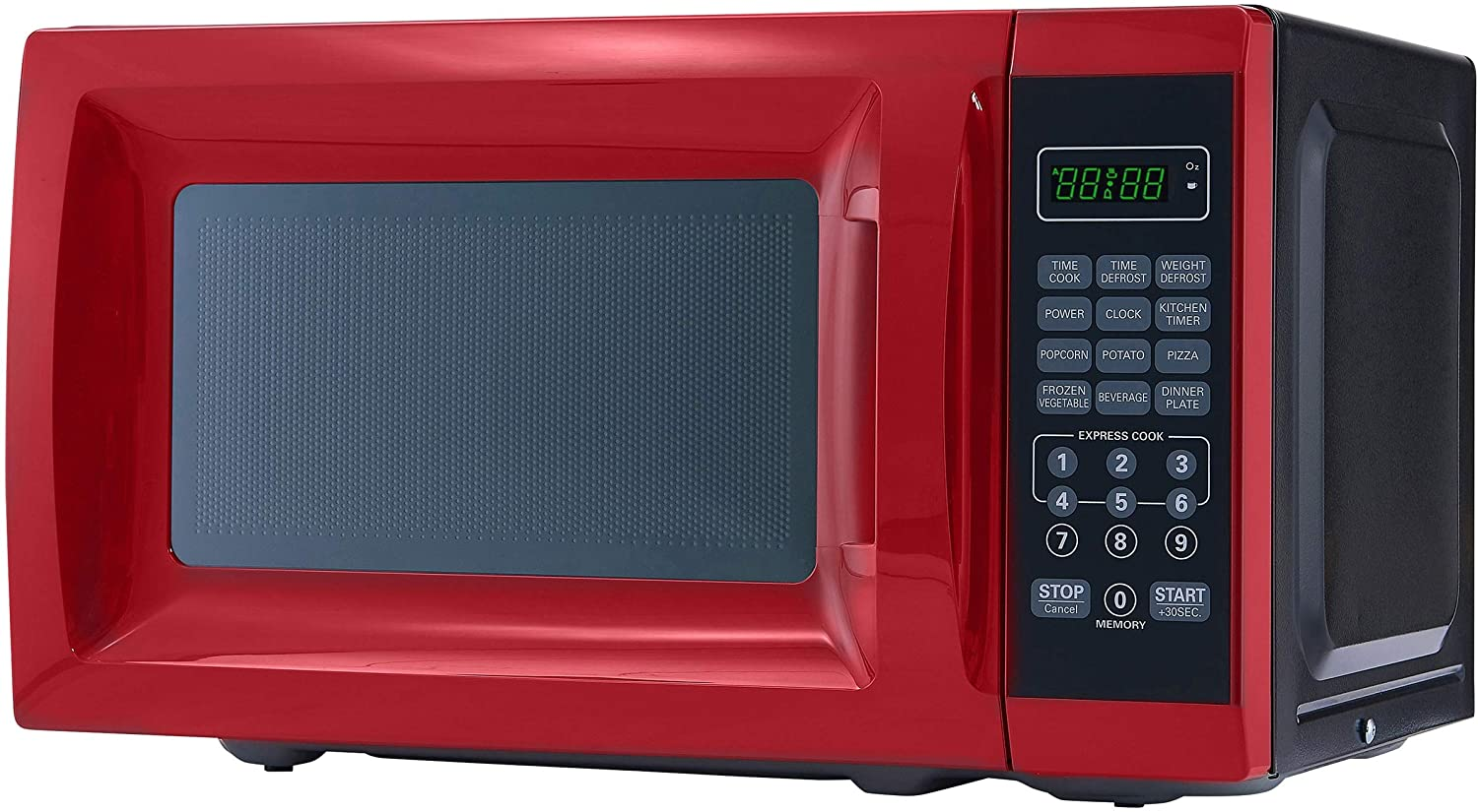 A picture of a mainstays red microwave oven showing the buttons