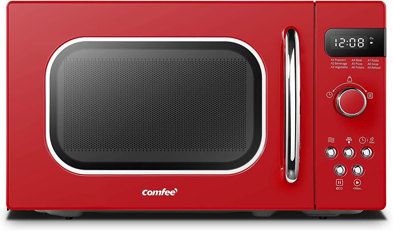 A bright red COMFEE-Retro-Countertop-Microwave-oven