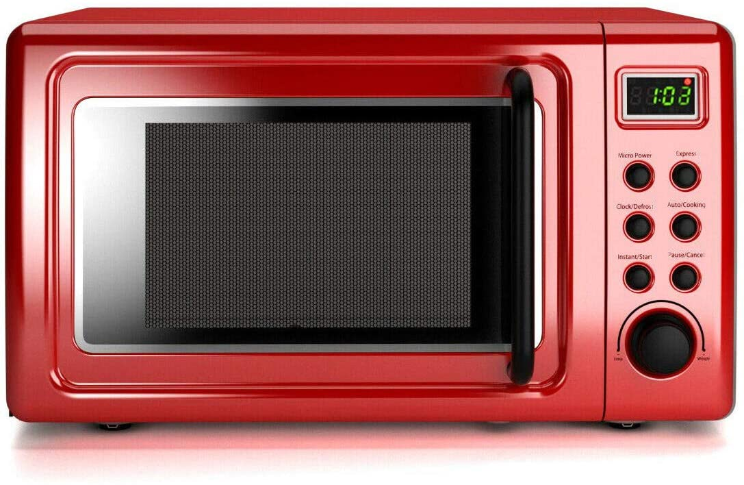 A Costway Red Retro Countertop Microwave Oven