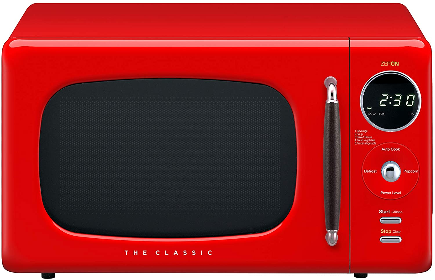 A bright red Daewoo Compact Microwave oven