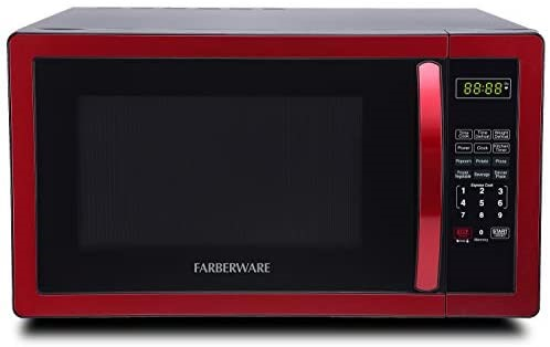 A Farberware Classic Red Microwave oven