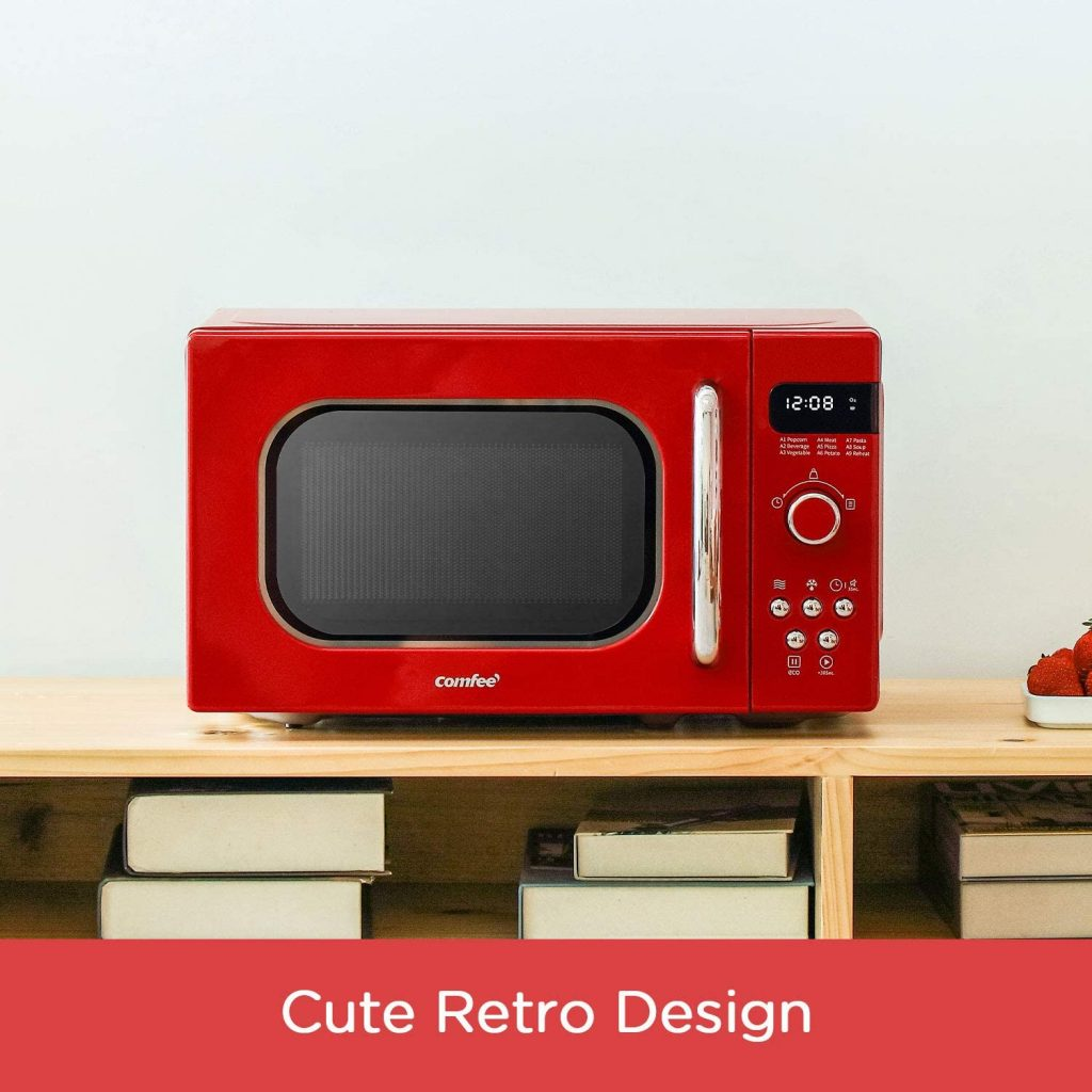 A COMFEE Red Microwave oven sitting on a desk