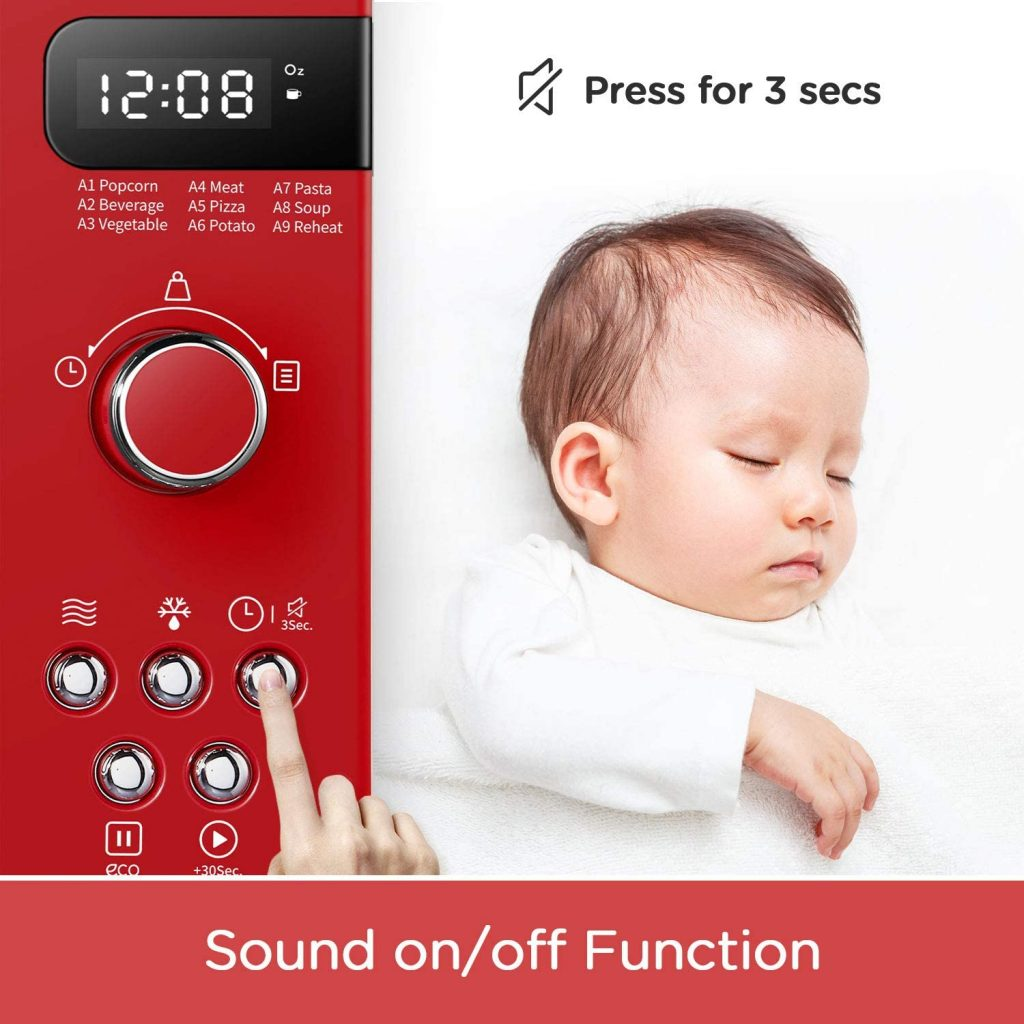 An Image of a COMFEE Red Microwave oven showing baby and demonstrating the mute function