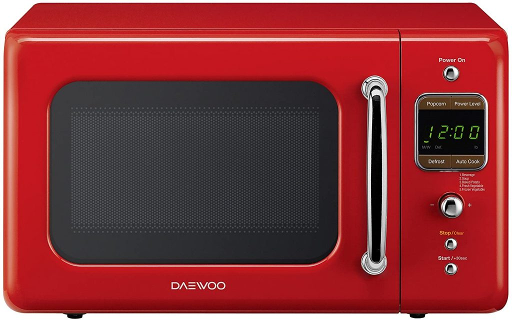 A picture of the Daewoo KOR-7LRER Retro Countertop microwave