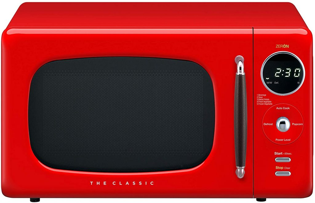 An image of the red Daewoo KOR07R3ZER microwave oven