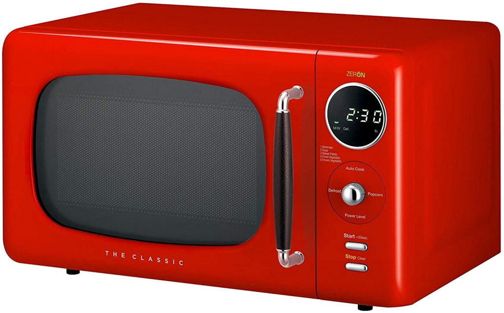 An image of the Daewoo Retro microwave oven showing its design