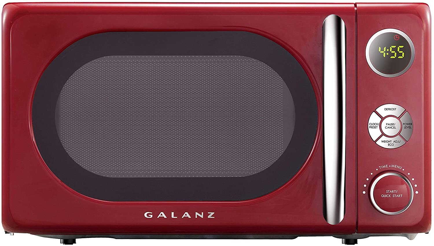 A Red Galanz Microwave oven