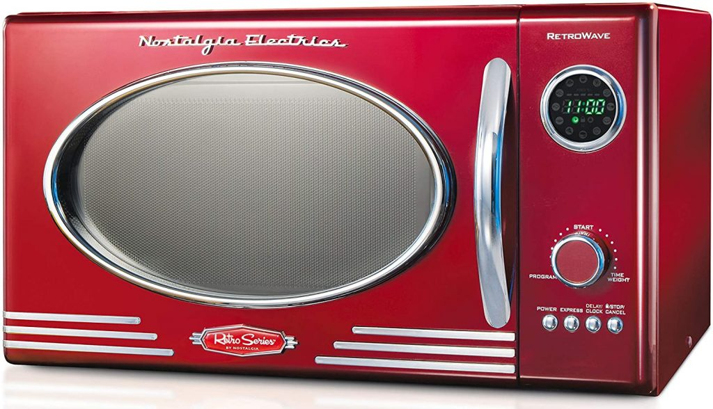 A picture of a Nostalgia RM04RR red microwave oven