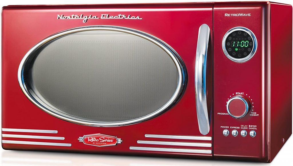 A picture of a Nostalgia RMO400RED Microwave oven